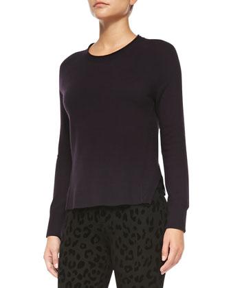 Cashmere Eugenia Crewneck Sweater & Leopard-Print Ponte Skinny Pants