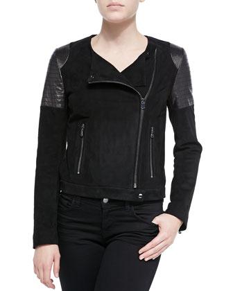 Ranya Suede & Leather Moto Jacket
