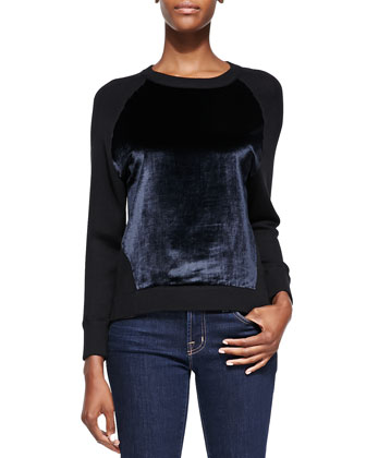 Erin Contrasting-Front Pullover Sweater