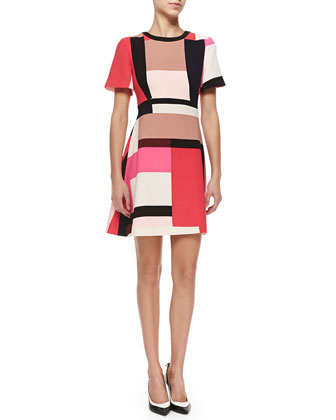 effie colorblock short-sleeve dress
