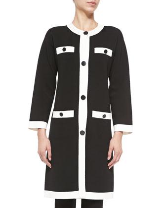 button-front colorblocked scuba coat