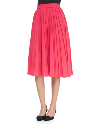 3/4-sleeve sweater with balloon front & accordion-pleated midi skirt