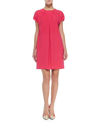 crepe cap-sleeve pleated-front dress, aladdin pink