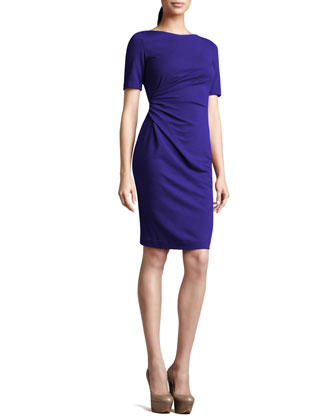 Short-Sleeve Side-Ruched Dress