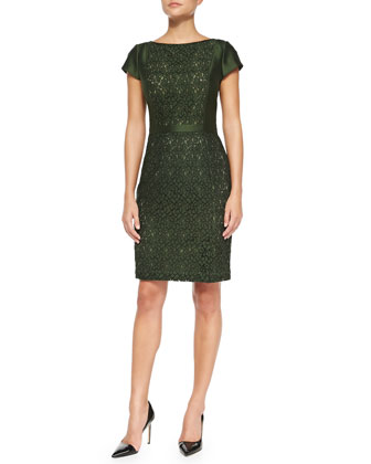 Mariana Satin/Jacquard Fitted Dress