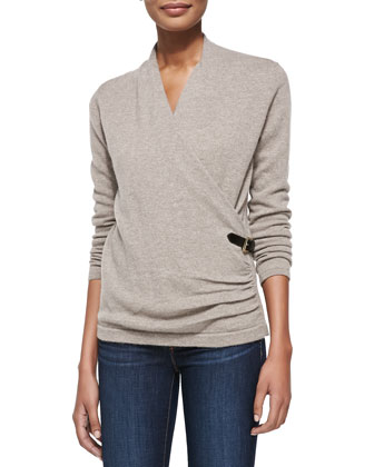 Cashmere Belted Wrap Top