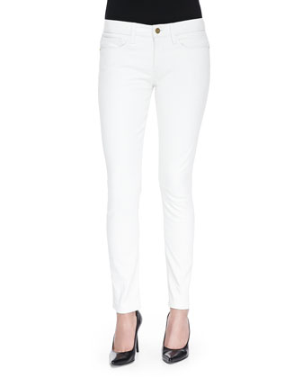 Low-Rise Skinny Leather Pants, Blanc