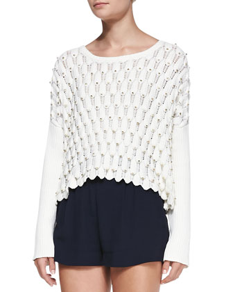 Scalloped Beaded Knit Coverup Sweater