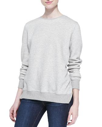 Crewneck Le Sweatshirt with Back Zip, Gris