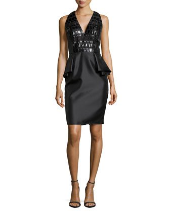 Leather-Bodice Peplum Cocktail Dress