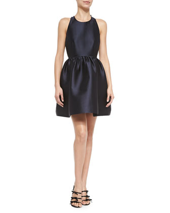 sateen bow-back fit-and-flare dress