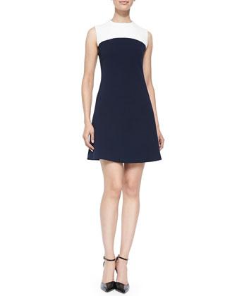 funnel-neck dress w/ contrast yoke