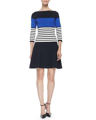 3/4-sleeve striped scuba dress