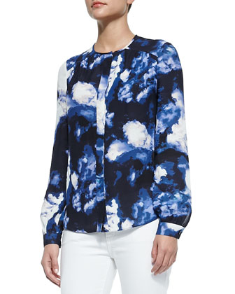 dusk clouds crepe blouse