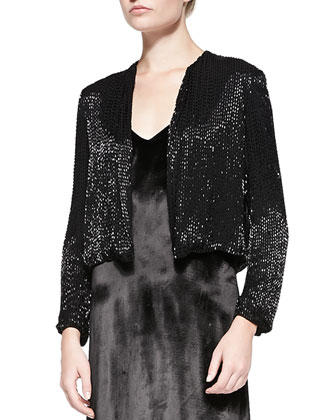 Kevin Sequined Cropped Evening Jacket & Long Trapeze Satin Tank Dress
