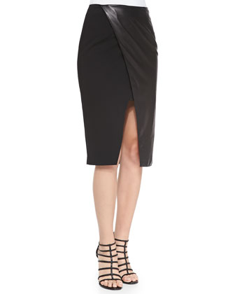 Leather/Ponte Wrap Pencil Skirt