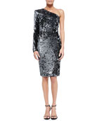 Bray One-Sleeve Sequined Cocktail Dress