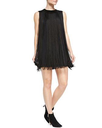 Sleeveless Fringe Shift Dress