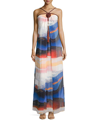 Teddy Rope-Detailed Sandscape-Print Maxi Dress