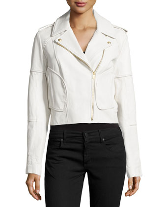 Theodora Asymmetric Leather Moto Jacket, White