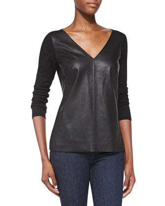 Lennie V-Neck Leather Combo Sweater, Black
