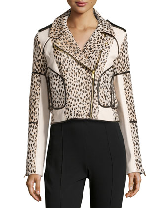 Theodora Cheetah-Print Jacket with Trim, Carmel/Pearl Black