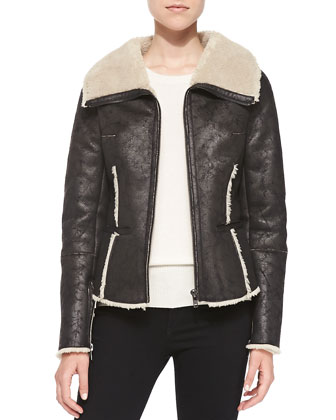 Faux-Fur Lined Faux-Suede Aviator Jacket, Black