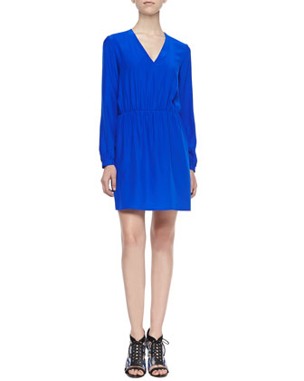 Fairway Long-Sleeve Ruched-Waist Dress