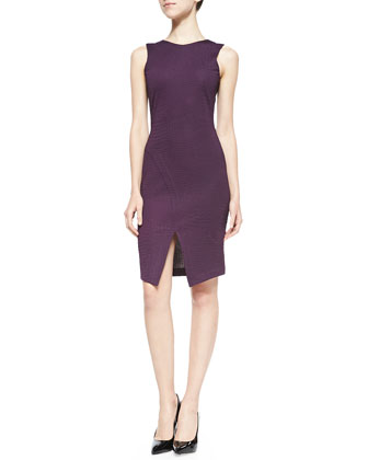 Doris Sleeveless Dress W/ Center Slit, Wine Croc