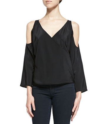 Long-Sleeve Surplice Top W/ Cold Shoulders
