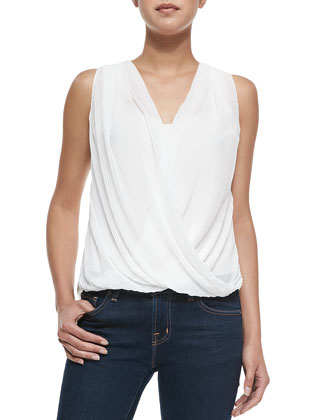 Accordion-Pleated Crossover Top, Ivory