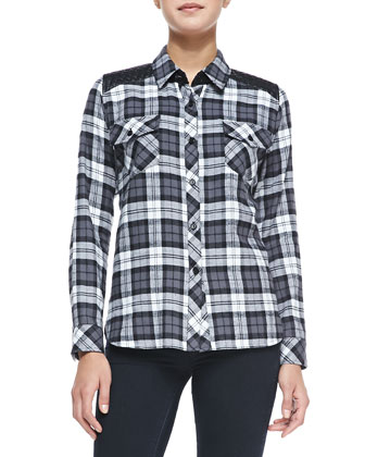 Long-Sleeve Plaid Shirt W/ Quilted Yoke