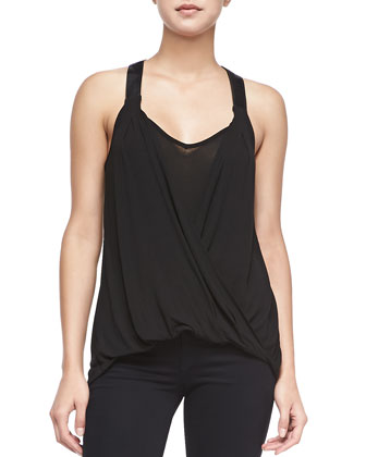 Icon Draped Top W/ Faux Leather Straps