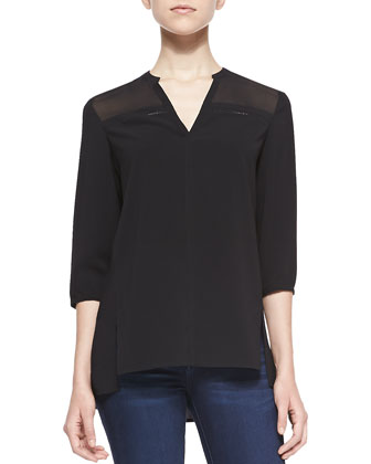 Lucy Half-Sleeve Blouse W/ Pointelle Detail