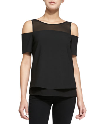 Short-Sleeve Cutout-Shoulder Tee