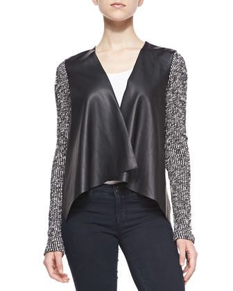 Faux Leather Drape-Front Cardigan