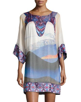 Vail Sandscape-Print Silk Shift Dress