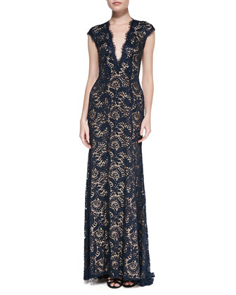 Plunge-Neck Beaded Lace Gown