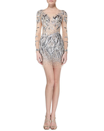 Sequined Beaded-Pattern Long-Sleeve Cocktail Dress