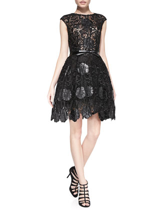 Lace Cocktail Dress w/ Leather Bow Belt
