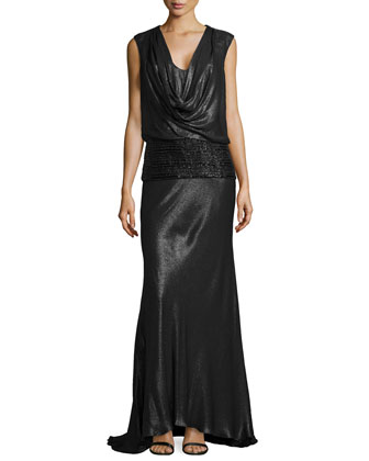 Sleeveless Gown w/ Beaded Hip Detail