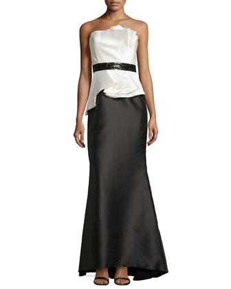 Strapless Bead-Waist Peplum Gown