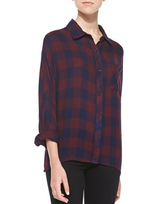 Maddox Two-Tone Plaid Blouse, Navy/Wine