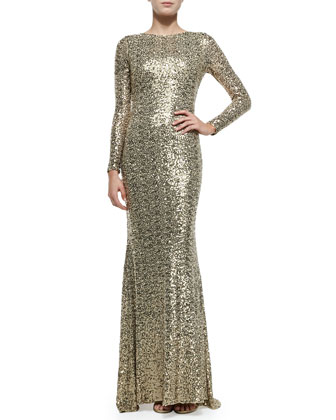 Long-Sleeve Sequined Cowl-Back Gown