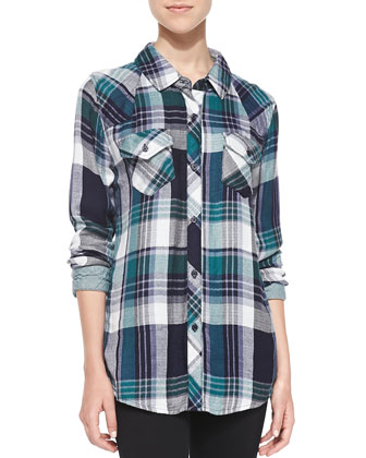 Kendra Plaid Double-Pocket Blouse, Green/Navy/White