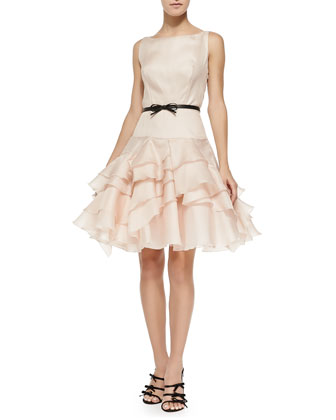 Tara Belted Cocktail Dress W/ Ruffled Skirt