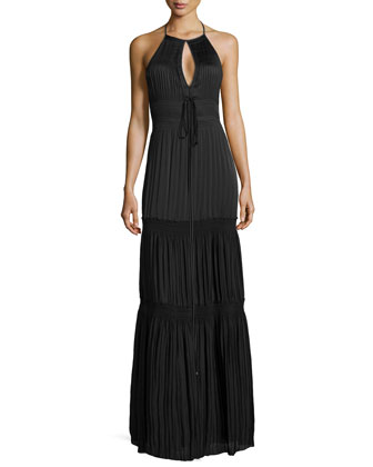 Aden Ruched Tiered Halter Dress