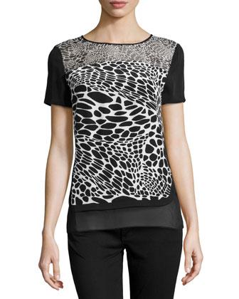 Becky Animal-Print Silk Top