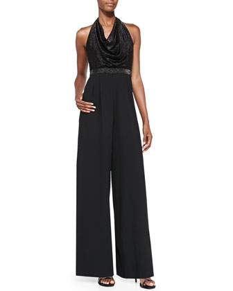 Draped Metallic Wide-Leg Jumpsuit