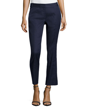Carissa Linen-Blend Straight Leg Pants, Bright Ink
